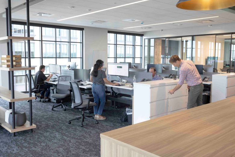 Employees at CBRE are invited to move from desk to desk on any given day to familiarize themselves with other departments and teammates.