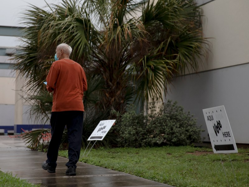 A man walks to cast his vote at the Las Palmas library polling station in May.