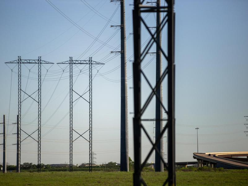 Electrical power lines near the Austin Energy/Sand Hill Energy Center in Del Valle are shown on March 24, 2020.