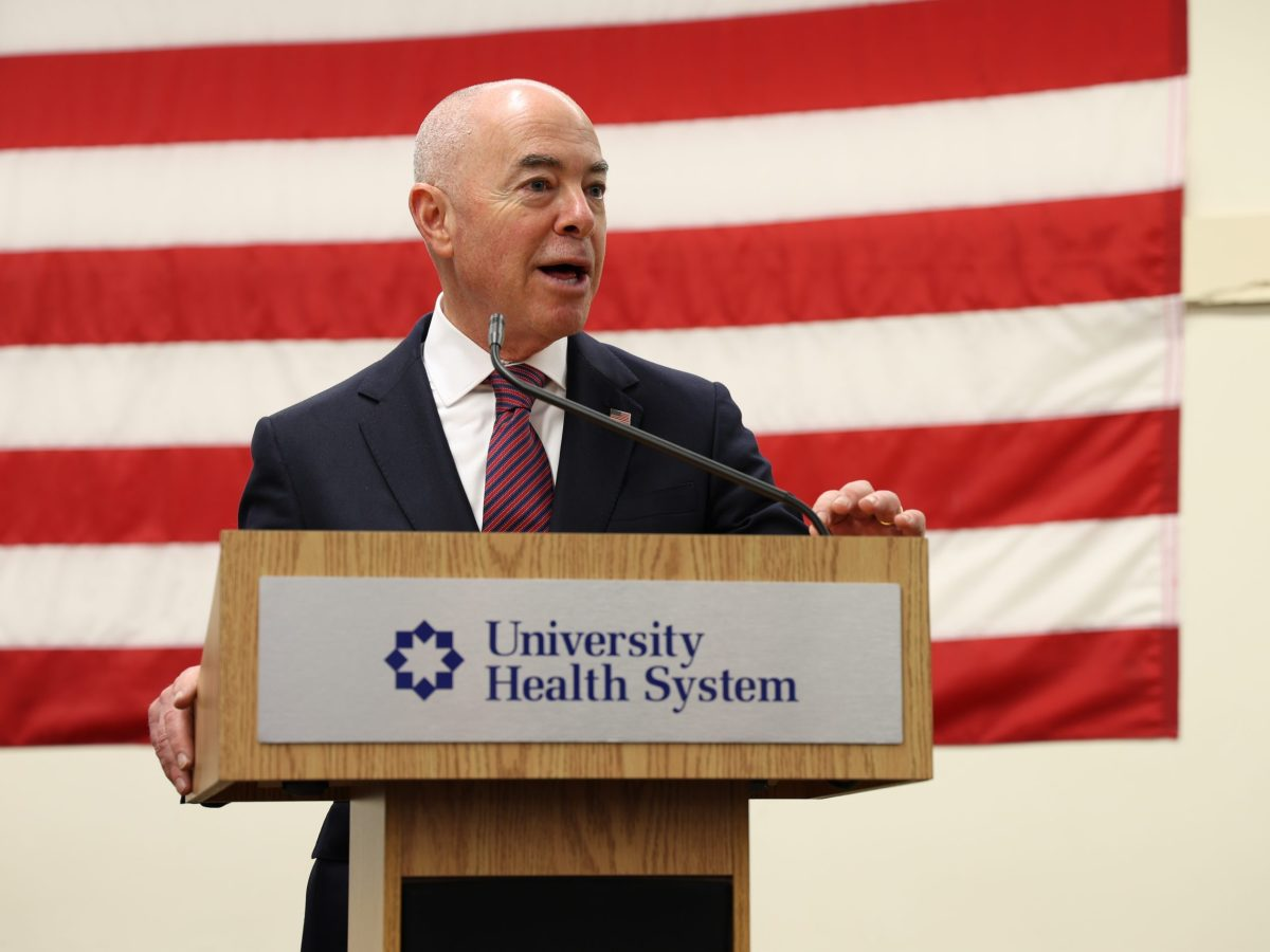 U.S. Secretary of Homeland Security, Alejandro Mayorkas, speaks at a press conference at the Wonderland of the Americas Tuesday afternoon. Mayorkas visited New Orleans and San Antonio vaccination sites to emphasize the importance of getting the COVID-19 vaccine.