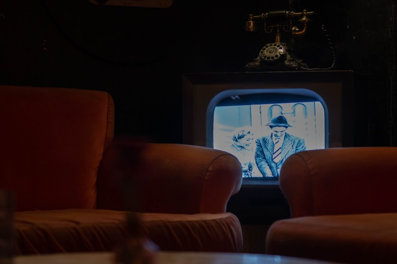A vintage TV set plays I Love Lucy re-runs inside of Bang Bang Bar.