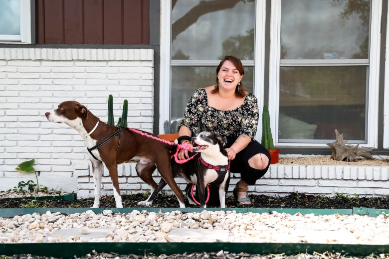 Courtey Warden lives with her two dogs, Bronson and River.