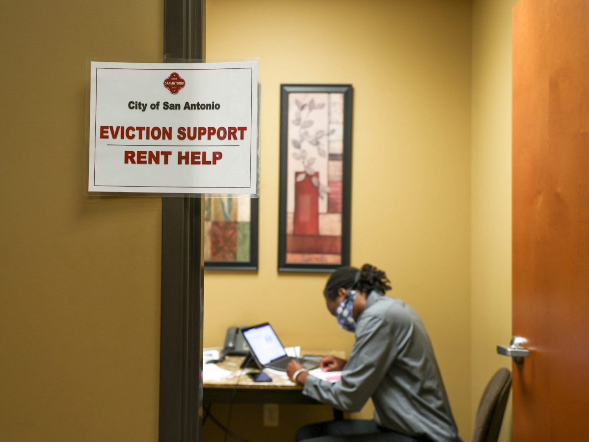 Elijah Thomas, a court manager with the City of San Antonio Neighborhood and Housing Services, works inside of the evtions outreach office at the Justice of the Peace Precinct Two building.