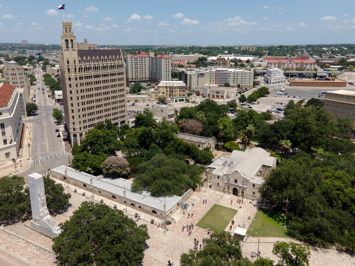 People tour the Alamo on Wednesday.