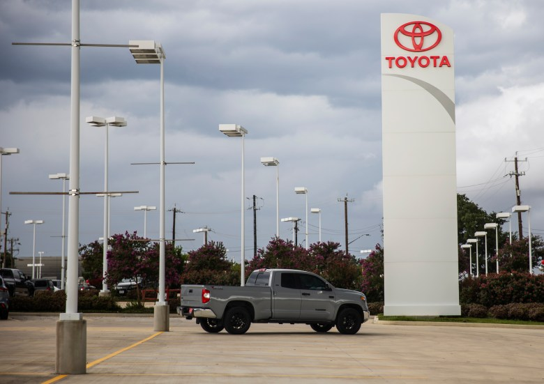 Only a few new cars remain available for purchase at Red McCombs Toyota on Monday.
