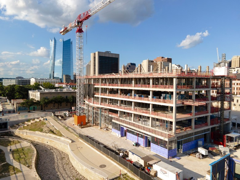 Construction continues on a slew of new developments on the western half of downtown on Thursday.