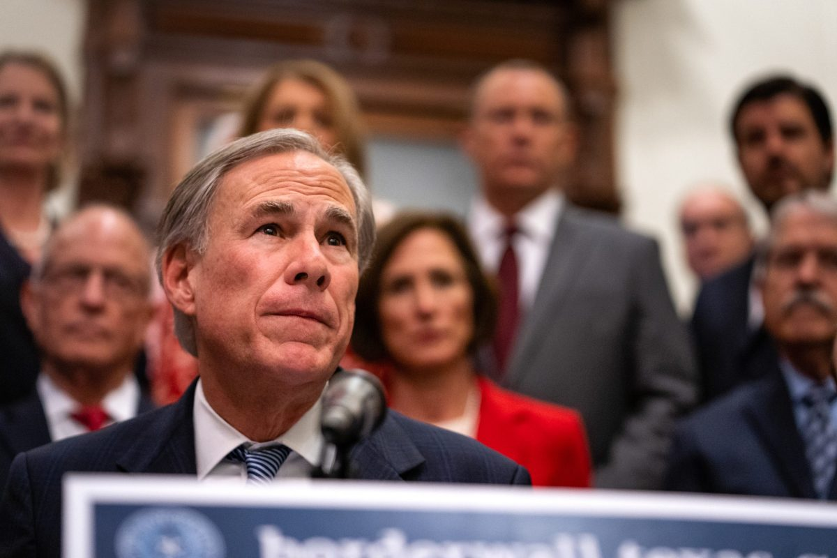 Gov. Greg Abbott gave updates on his border wall plans with Lt. Gov. Dan Patrick and House Speaker Dade Phelan at the Texas Capitol on June 16, 2021.