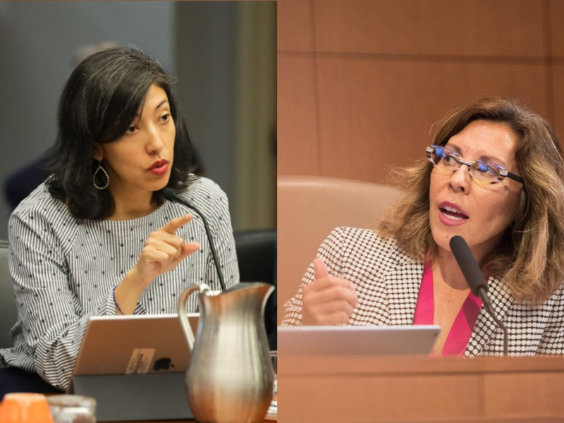 Councilwoman Ana Sandoval (D7) and former Councilwoman Shirley Gonzales (D5) address their colleagues on the dais. In two separate instances, the councilwomen brought up race, which led to altercations amongst other councilmembers.