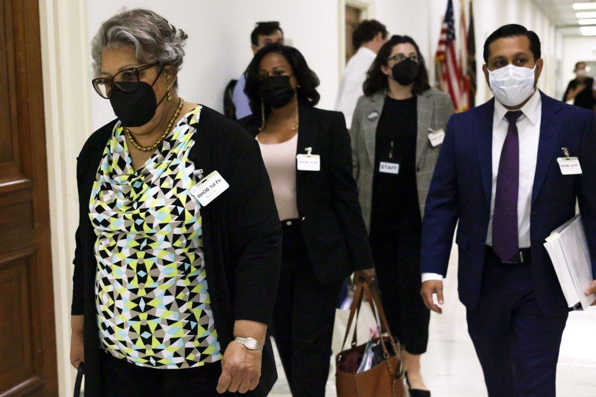 """WASHINGTON, DC - JULY 29: Texas State Rep. Senfronia Thompson (D-141) (L), Texas State Rep. Nicole Collier (D-95) (2nd L) and Texas State Rep. Diego Bernal (D-123) (R) arrive at a hearing before the Subcommittee on Civil Rights and Civil Liberties of House Committee on Oversight and Reform at Rayburn House Office Building July 29, 2021 on Capitol Hill in Washington, DC. The subcommittee held a hearing on """"Democracy in Danger: The Assault on Voting Rights in Texas."""""""