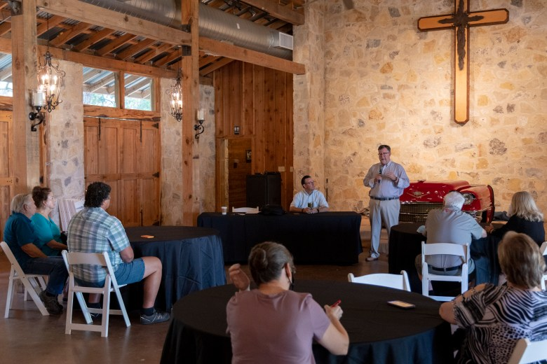 Davids Holmes, a representative of the Urbanczyk hosts a meeting with Honey Creek Ranch neighbors, business owners, and officials regarding the potential housing development or possible parkland of the Comal County Ranch on Monday, August 30, 2021.