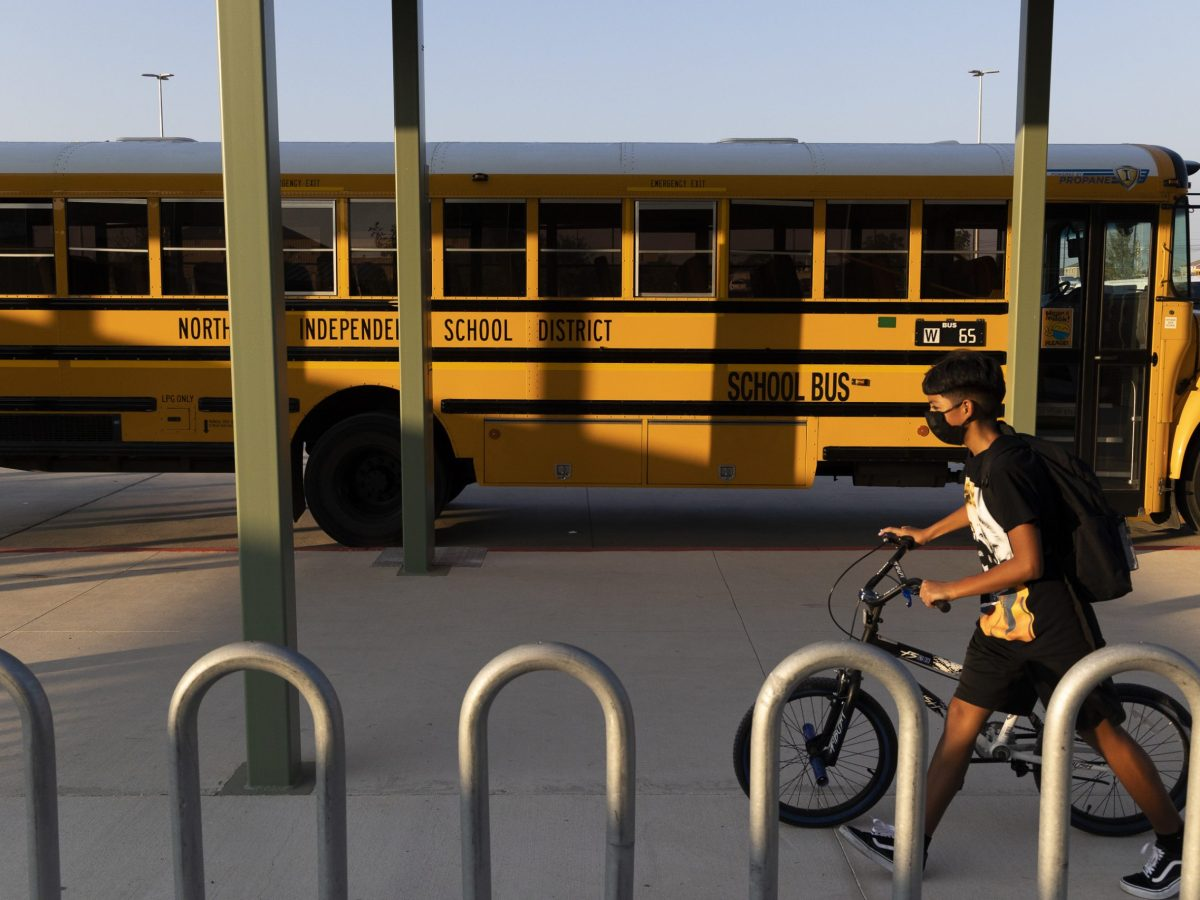 Students of NISD's Joe Straus III Middle School arrive to school during the first week of the 2021-2022 school year.