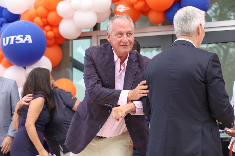UTSA President Taylor Eighmy attends the ribbon cutting ceremony of the Roadrunner Athletics Center of Excellence (RACE).