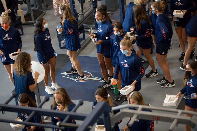 UTSA student athletes tour the new facilities at the Roadrunner Athletic Center of Excellence (RACE).