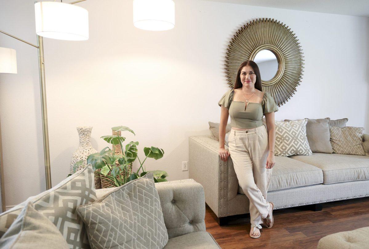 Jen Monserrat in her Summit at Bulverde Creek living room.