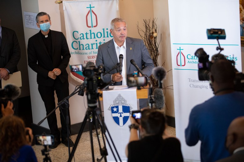 J. Antonio Fernandez addresses the media with the announcement of Catholic Charities taking in 342 Afghan refugees following recent Taliban control and the end of a twenty year war with the United States.