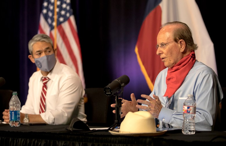 Bexar County Judge Nelson Wolff speaks during a COVID-19 briefing on Tuesday.