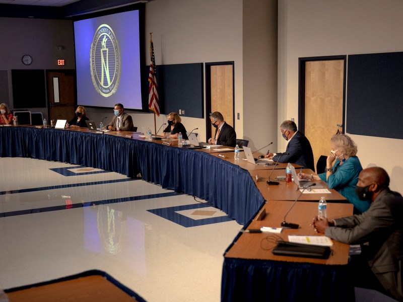 Northside ISD trustees listen to a speaker during a board meeting on Tuesday.