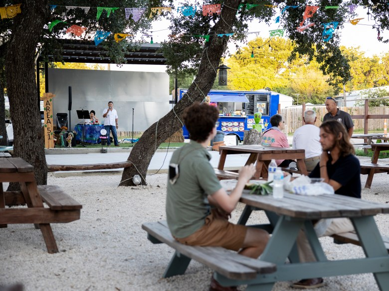 Area 51 Food Park features a stage, food vendors and plenty of seating for customers.