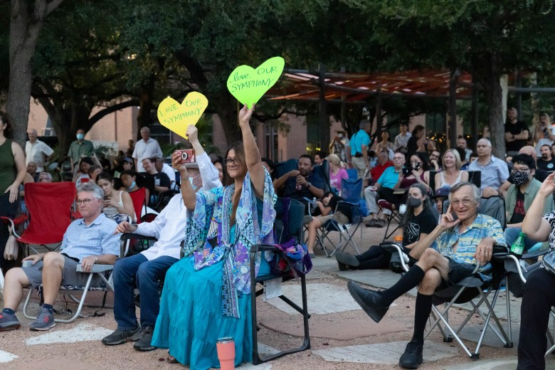 The audience shows their support for the San Antonio Symphony during a free concert in Main Plaza Saturday evening.