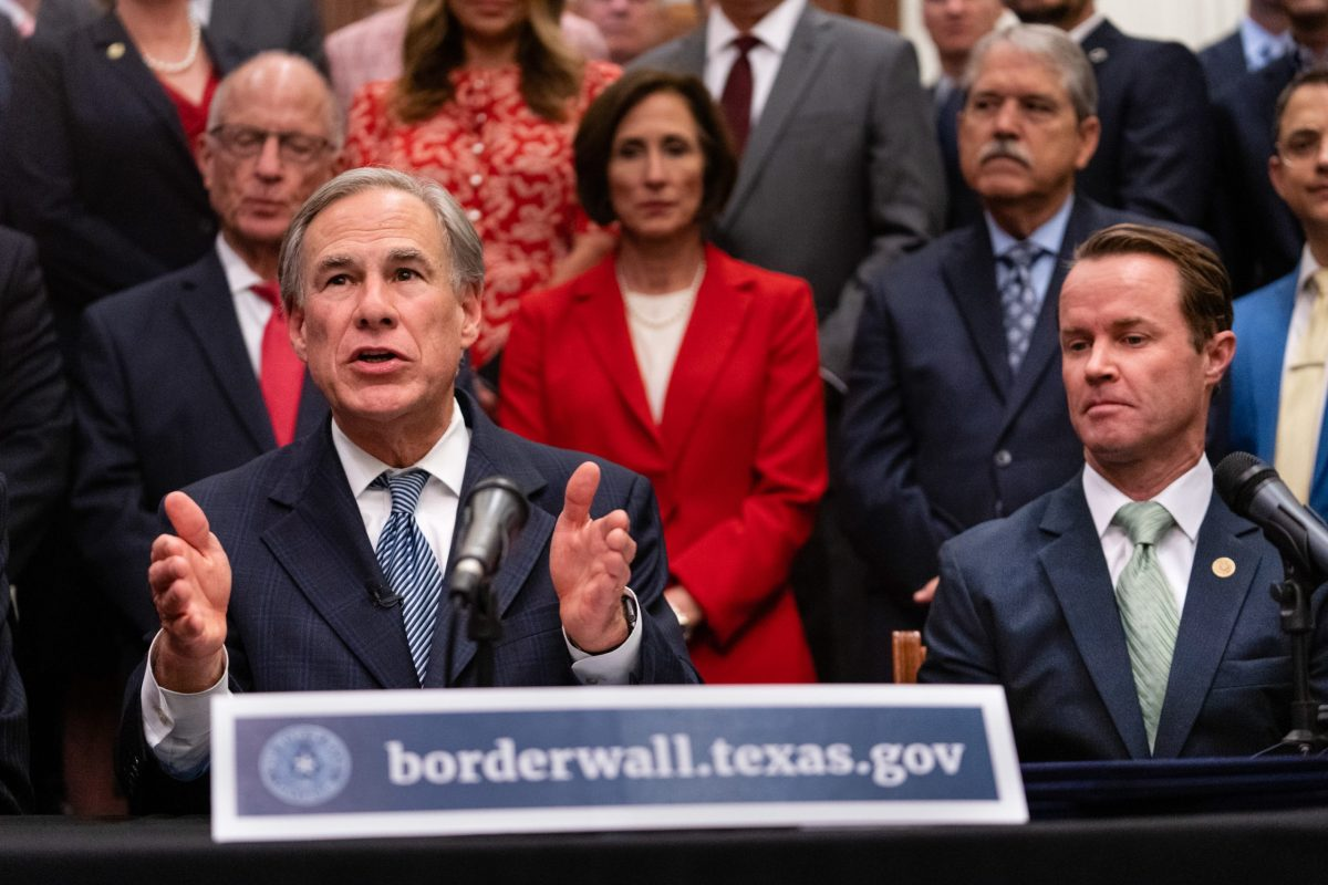 Gov. Greg Abbott and House Speaker Dade Phelan during a press conference at the state Capitol on June 16, 2021.
