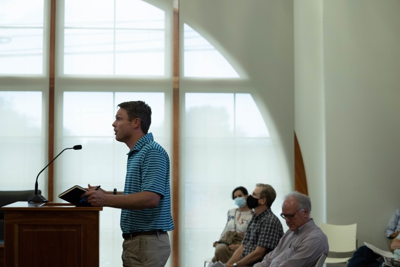 Developer Tredes Sasses ascknowledges his application before the Alamo Heights Architecture Review Board Tuesday.