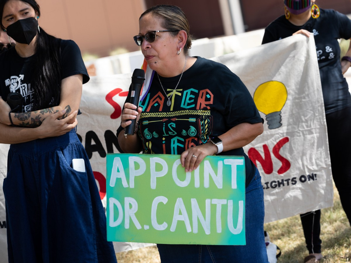 Environmental activist Dee Dee Belmares calls for CPS Energy trustees to appoint Adelita Cantu, an associate professor of nursing, to replace outgoing trustee Ed Kelley.