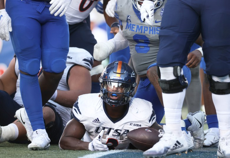 UTSA running back Sincere McCormick looks to the sideline referee for the touchdown signal on a run against the Memphis Tigers at Liberty Bowl Memorial Stadium on Saturday, September 25, 2021.