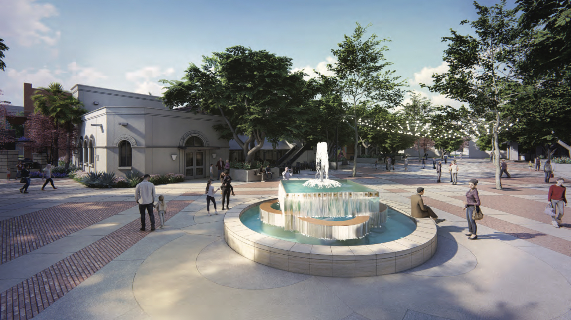 A conceptual rendering of the updated Maverick Plaza and new fountain.