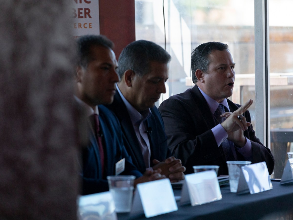 Candidates vying for the vacancy left by Leo Pacheco for State Representative HD-118 participate in a forum hosted by the San Antonio Hispanic Chamber of Commerce at Augie's Barbecue on Friday.
