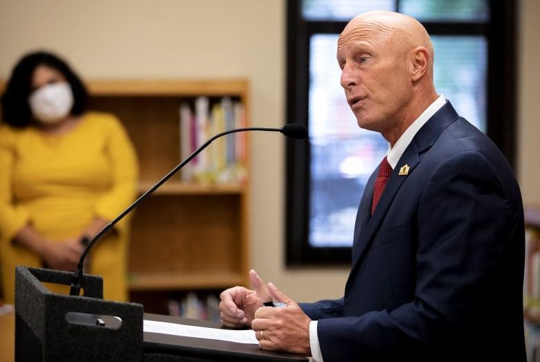 Dr. Robert Jaklich, SAISD's interim superintendent, speaks during a press conference at Wilson Elementary on Thursday.