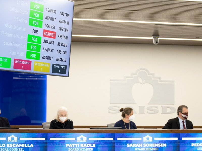 Vote totals are displayed on a screen as trustees approve a vaccine mandate during an SAISD school board meeting on Sept. 13.