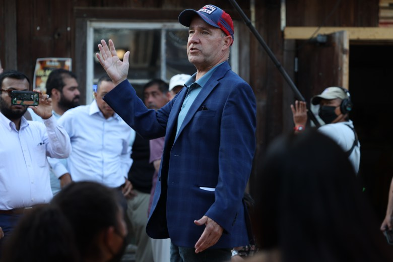 Political strategist and pundit Matthew Dowd answers questions from the audience about his campaign for Texas lt. Gov. at the meet and greet he hosted at The Friendly Spot Tuesday.
