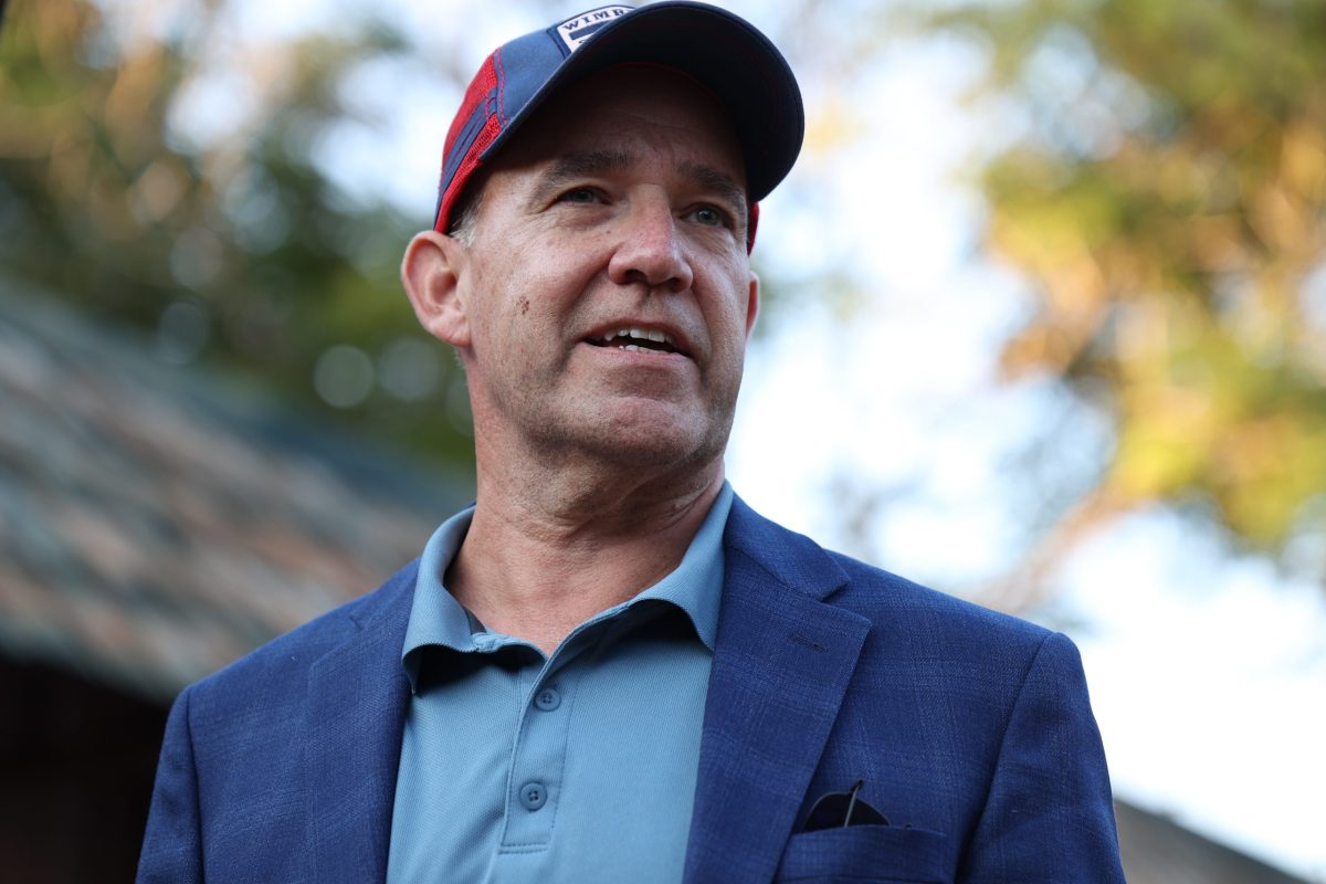 Democratic candidate for Texas Lt. Gov. Matthew Dowd answers questions from the audience about his campaign at the meet and greet he hosted at The Friendly Spot Tuesday.