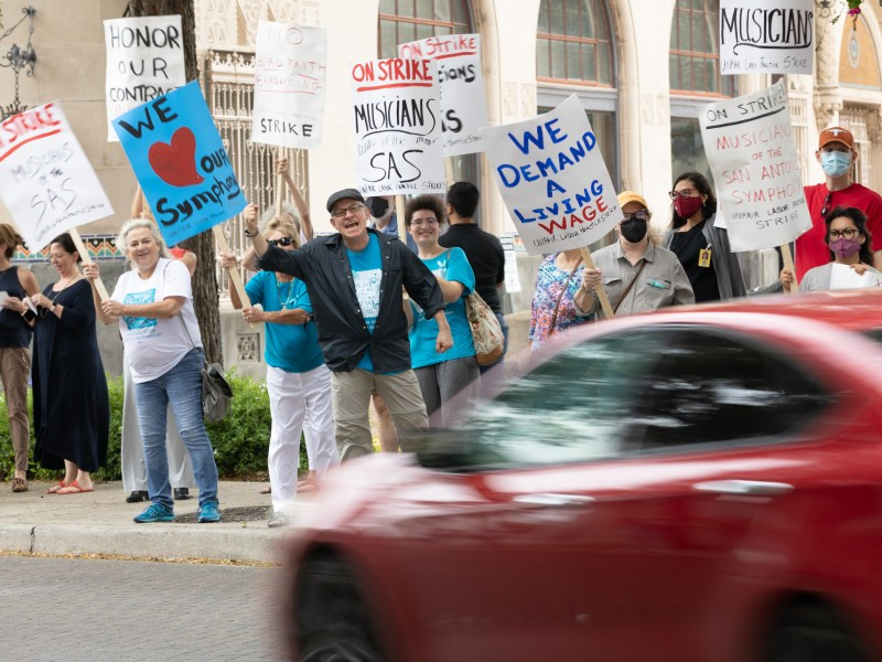 Musicians and their supporters picket during a strike of the musicians of the San Antonio Symphony outside of the Tobin Center for the Performing Arts on Tuesday October 12, 2021.
