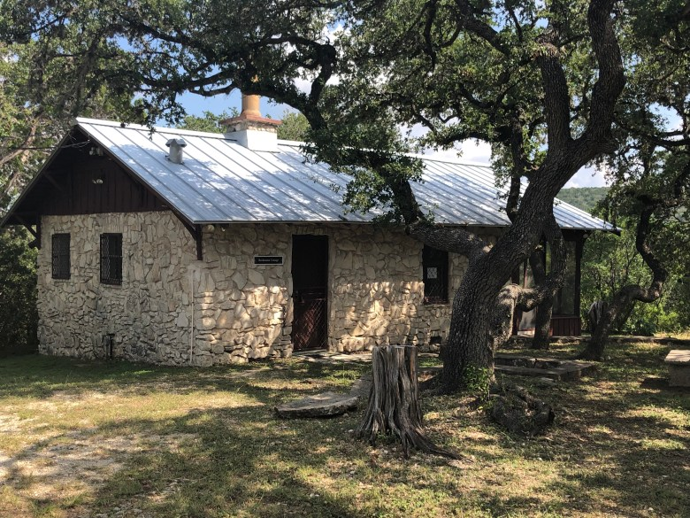 The Beckmann House, a 1930s-era cottage at the top of a hill, is available for day-use rentals.