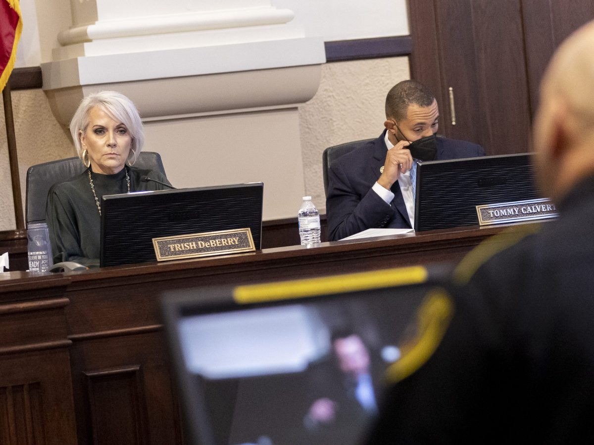 Bexar County Commissioner Trish DeBerry (Pct. 3) listens as Sheriff Salazar speaks to a consultant he hired to assess the Bexar County Adult Detention Center.