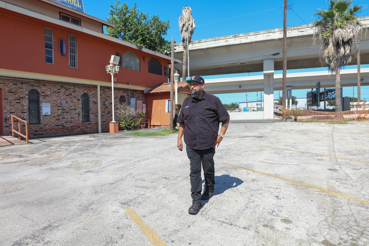 Steven Rodriguez stands near the location of his family's longtime Mexican restaurant Piedras Negras De Noche. The restaurant is intertwined in an eminent domain case with the San Antonio Water System (SAWS) whom is looking to build a sewage lift system on family-owned restaurant property.