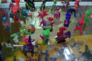 Photo of alebrijes, hand-carved and -painted wooden animals, at Fiesta on Main.