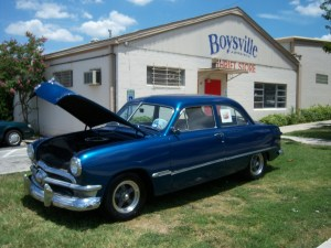 Photo of an antique car that's being raffled for $10 to support Boysville.