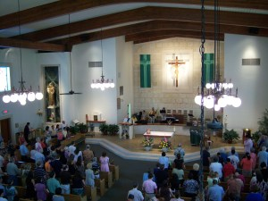 A photo of the interior of St. Anthony de Padua Catholic Church in San Antonio, Texas.
