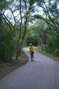 Photo of a cyclist along the Salado Creek Greenway.