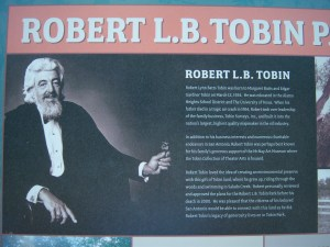 Photo of the signage that explains Robert L.B. Tobin's history.