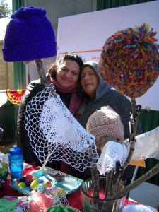 Photo of Margarita and Rosa's crocheted items.
