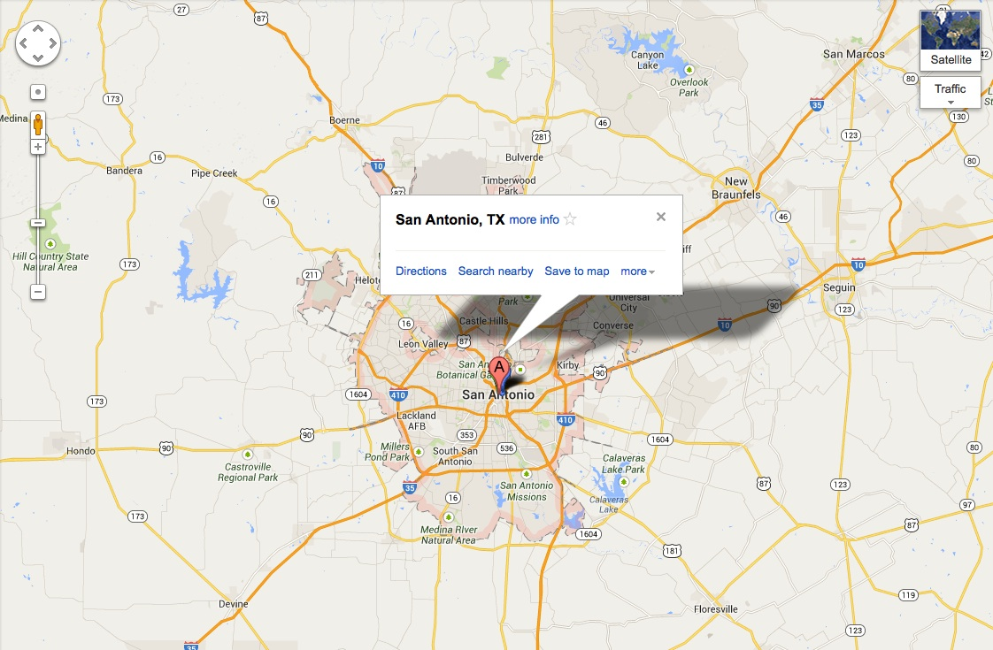 Image of map of San Antonio, Texas.