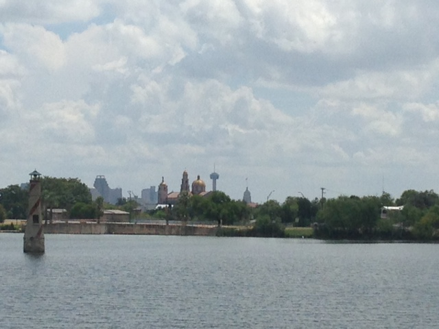 Photo of Woodlawn Lake Park provides a lovely view of downtown San Antonio's skyline and the Basilica of the National Shrine of the Little Flower.