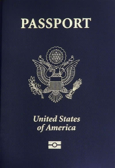 Photo of a USA passport.