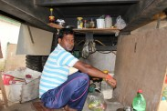Shyam only eats vegetarian food and cooks it underneath the machine. With his mobile stove and cooking utensils, he puts together quite a delicious assortment of dishes.