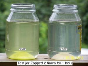 La imagen muestra que los microbios en el tarro de la derecha son asesinados por el zapping para una sesión de 1 hora, dos días en una fila.