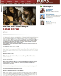 Faryad online interview with Sanaz Shirazi