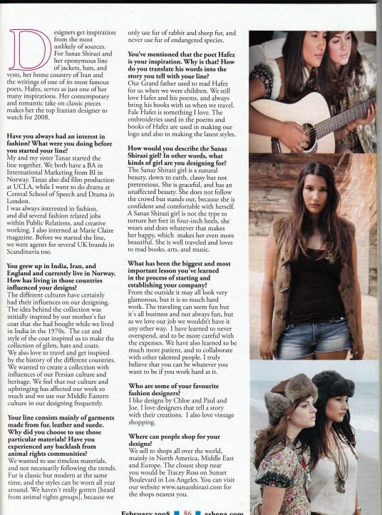 PAYAM magazine interview with Sanaz